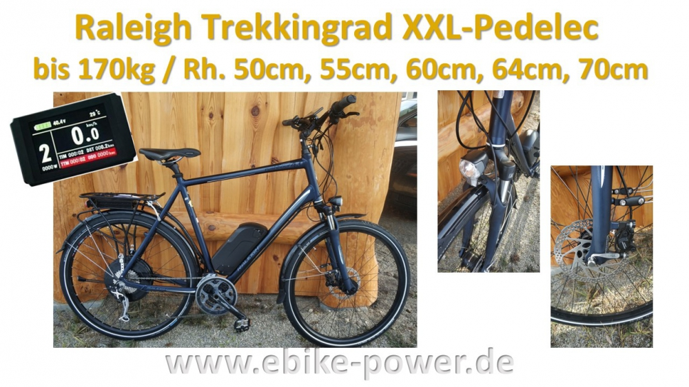 Bild 1 von Raleigh 170kg XXL - Pedelec Trekkingrad,  E-Bike mit kraftvollem Speedmotor mit Gasgriff  / (Option I) 60cm / Sinuscontroller / Farbdisplay / (Option II) 48V/17,5Ah Dolphin III  (840Wh) + 3A Ladegerät